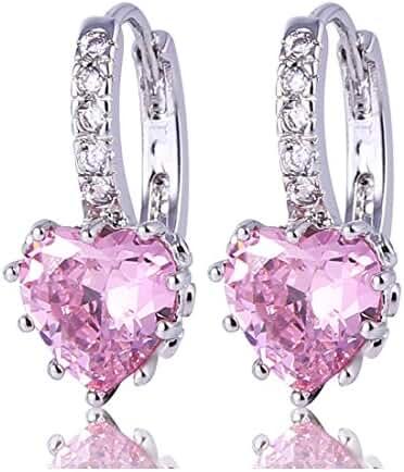 GULICX Heart shape Created Pink sapphire Cubic Zirconia Silver Tone hoops shiny earrings