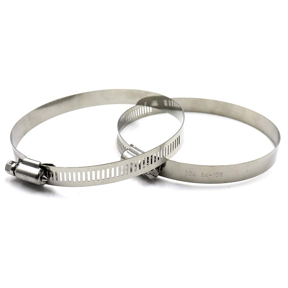 TUOREN Adjustable Stainless Steel American Worm Gear Hose Clamp 78-101mm Clamping Range-10pcs