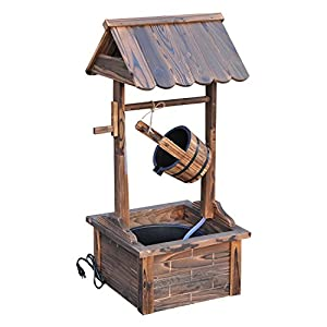 Outdoor Electric Wishing Well Wooden Water Fountain