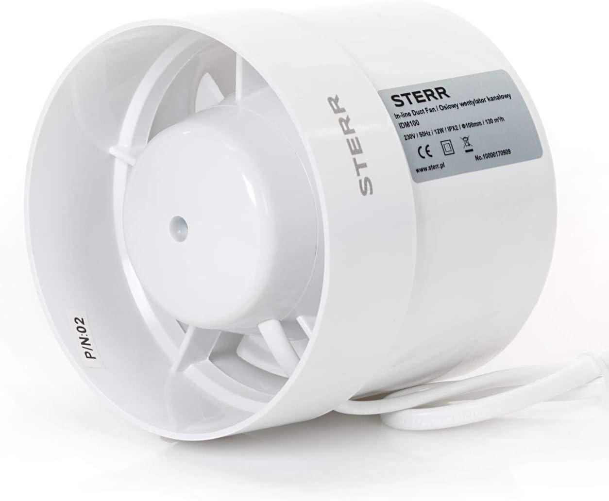 STERR - Extractor en línea con ventilador de conductos silenciosos 100 mm - IDM100