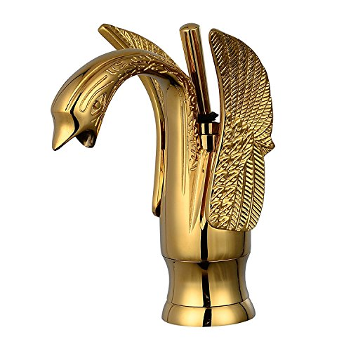 GGStudy Gold Swan Shape Single Handle One Hole Bathroom Faucet Deck Mount Lavatory Sink Faucet