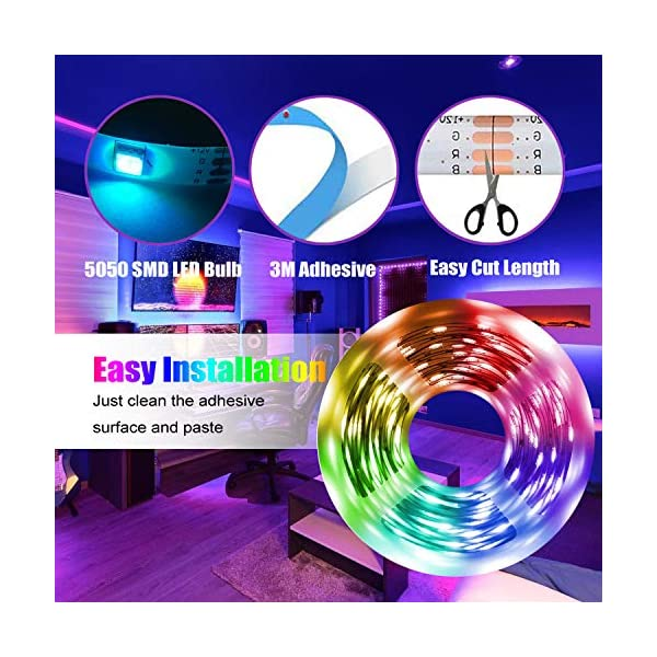 LED Strip Light, 16.4 ft Waterproof Music RGB 5050 Led Rope Lights Color Changing LED Light Strip Kit with Remote… 7