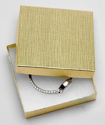 Pacific Jewelry Displays Cotton Filled Box (Gold Swirl) - Pack of 100
