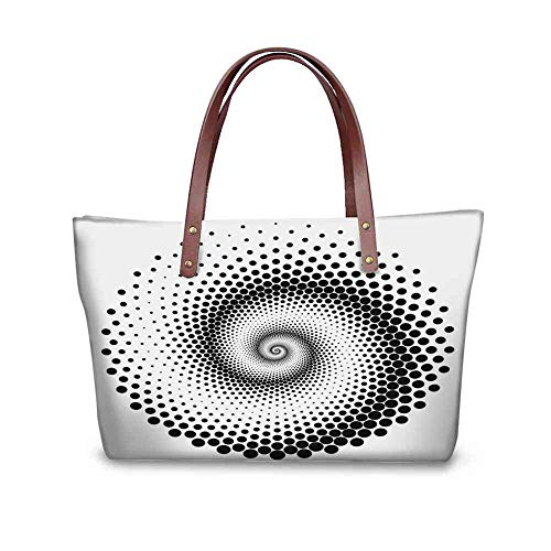 Custom Handbag Tote Shopping Bags Abstract,Black Dots Forming a Spiral Shape Monochrome Circle Twist Optical Art Elements,Black White Printing Tote Umbrella Mini