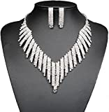 Wedding Bridal Jewelry Set Crystal Rhinestone V Shape Necklace and Earrings for Women Silver Plated
