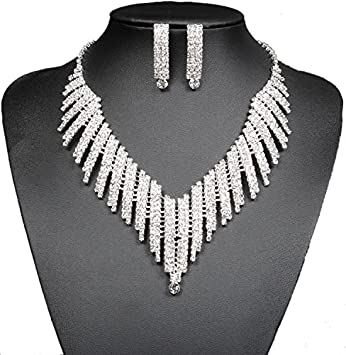Amazoncom Wedding Bridal Jewelry Set Crystal Rhinestone V Shape