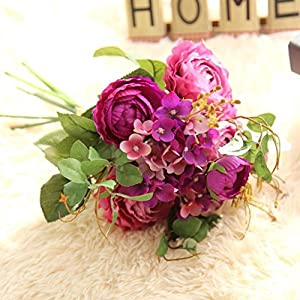 YJYdada Artificial Fake Flowers Land Lotus Floral Wedding Bouquet Party Home Decor (Purple) 49