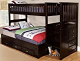 Discovery World Furniture Twin Over Full Staircase Bunk Bed with Twin Trundle, Espresso