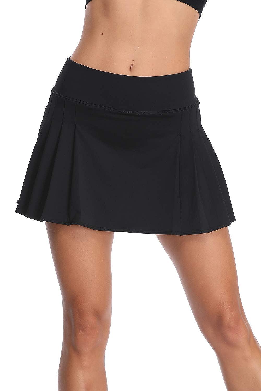 32e-SANERYI Womens Pleated Tennis Skirt Elastic Quick-Drying Skort with Side Inner Pocket Running Short