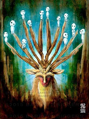 oke Hime Deer God Forest Painting Giclèe Print ()
