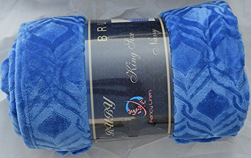 Fancyt Collection Super Soft Solid Flannel Embossed Queen/King Size Blanket Cover Light Weight New (Royal Blue)