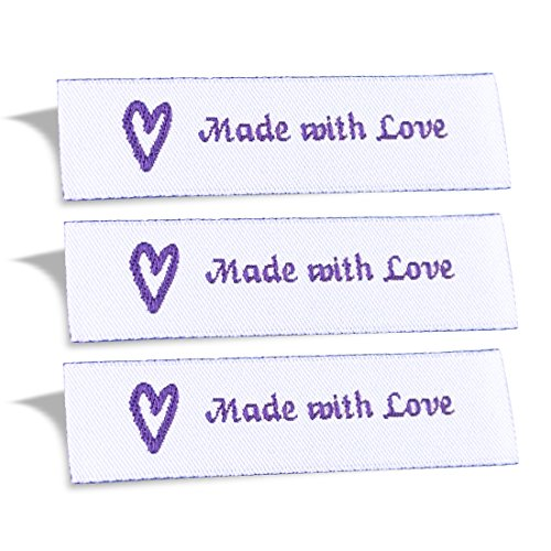 Sewing Ribbon Tags - Wunderlabel Made with Love Crafting Craft Art Fashion Woven Ribbon Ribbons Tag for Clothing Sewing Sew on Clothes Garment Fabric Material Embroidered Label Labels Tags, Purple on White, 50 Labels