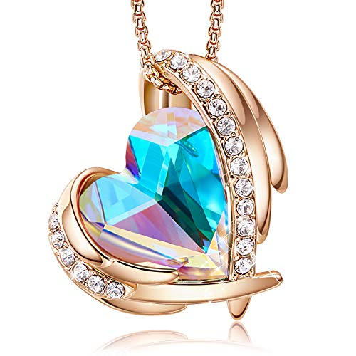 "CDE ""Pink Angel 18K Rose Gold Plated Pendant Necklaces Women Embellished with Crystals from Swarovski Necklace Heart Jewelry Fashion for Women, Gift for Mothers Day"