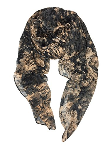 YOUR SMILE Lightweight Scarves beach towels Pareo : Fashion Flowers Print Shawl Wrap For Women For Spring Summer (Black/Grey Abstract)