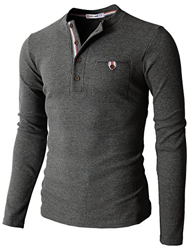 H2H Mens Casual Slim Fit Henley Shirts with Bound Pocket of Waffle Cotton Charcoal US M/Asia L ()