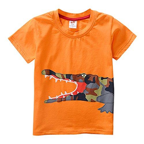 Toddler Kids Baby Boys Short Sleeve Cartoon Dinosaur Print Tops T-Shirt Blous (7-8 Years Old, Orange) -