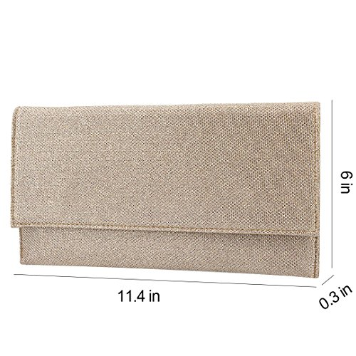 Bag for Shiny Prom Womens Gabrine Party 00125 Wedding Mesh Shoulder Envelop Material Gold Evening Clutch Handbag Fabric fgwSqIP