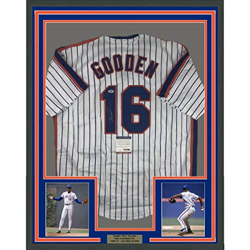 Framed Autographed/Signed Dwight Doc Gooden 33x42 New York Pinstripe Baseball Jersey PSA/DNA - Pinstripe Mets Mlb Jersey Replica