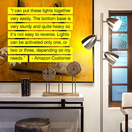 Brightech Jacob - LED Reading and Floor Lamp for Living Rooms & Bedrooms - Classy, Mid Century Modern Adjustable 3 Light Tree - Standing Tall Pole Lamp with 3 LED Bulbs - Satin Nickel by Brightech (Image #8)