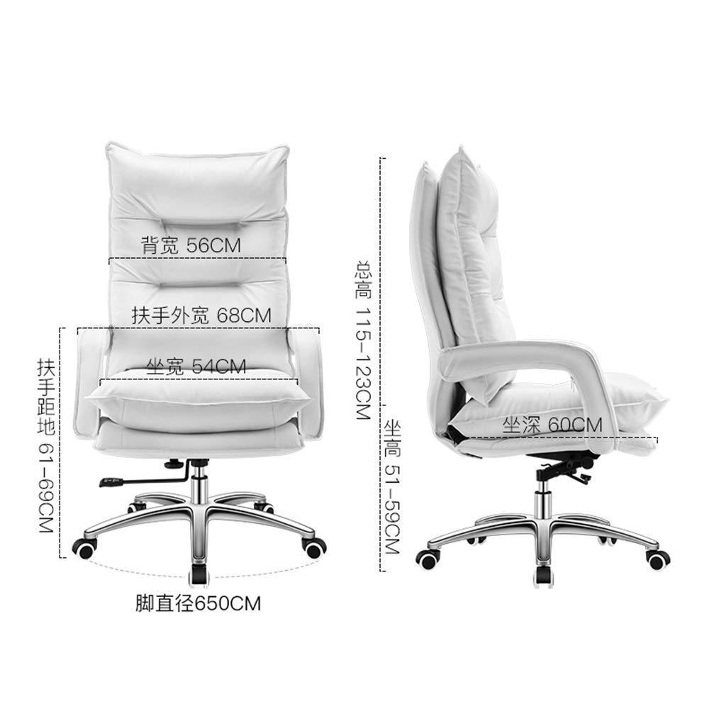 Barstolar Xiuyun datorstol multifunktionell kontorsstol dubbelskiktsdesign bekväm service ergonomiska fördelar justerbar höjd upprätt position läder (färg: vit) Vitt
