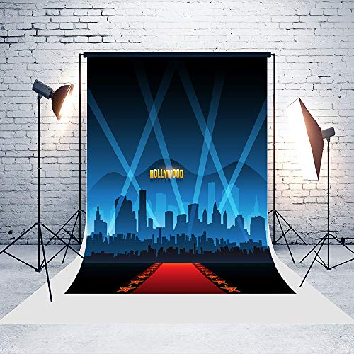 5ft(W) x7ft(H) Hollywood Movie Red Carpet Backgrounds City Baby Shower Wedding Birthday Party Decorations Microfiber Photo Backdrop Studio Props -