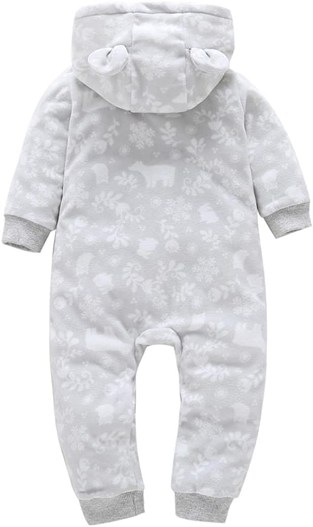 Allywit Christmas Baby Boys Girls Thicker Print Hooded Romper Jumpsuit Home Clothes