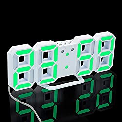 TRADE Large Numbers 3D Alarm Clock LED Screen 3 Brightness Levels Snooze Function Settable Simple Installation Desk Wall Hanging Digital Alarm Clock for Sitting Room Kitchen Bedroom Office