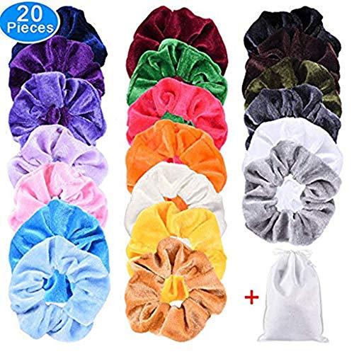 m·kvfa 20 Pack Hair Velvet Elastics Hair Ties Bright Colorful Bobbles Bands 20 Colors for Women or Girls Hair Accessories