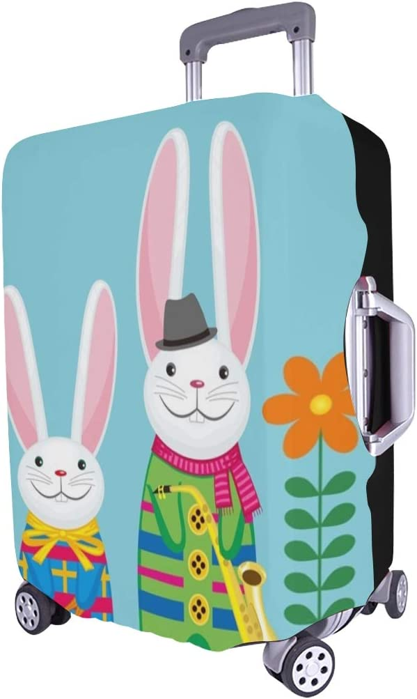 Image Family Funny Rabbits Musical Spandex Trolley Case Travel Luggage Protector Suitcase Cover 28.5 X 20.5 Inch