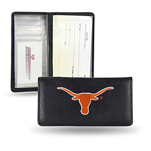 (NCAA Texas Longhorns Embroidered Genuine Cowhide Leather Checkbook Cover)