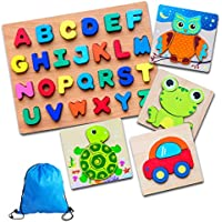 RomanceFilters Wooden Jigsaw Animal and Alphabet Puzzle