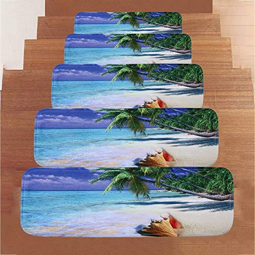 NEARTIME Non-Slip Stair Treads Carpet with Skid Resistant Rubber Backing and Modern Fleece Resistant Design for Indoor Wooden Steps from NEARTIME