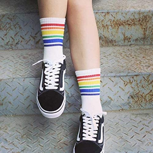 JIANGNIJP 3ペア子供ファッションホワイトコットンヒップスター漫画色の足首の靴下女性、サイズ:50cm(ブラック) (色 : 白)