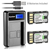 Kastar Battery (X2) & LCD Slim USB Charger for JVC BN-VF808, BN-VF808U, BNVF808 and JVC Everio GZ-MG130 148 150 155 175 255 275 575 GZ-HD7 GR-D745 746 750 760 770 771 775 790 796 JVC MiniDV + More
