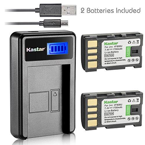 Kastar Battery (X2) & LCD Slim USB Charger for JVC BN-VF808, BN-VF808U, BNVF808 and JVC Everio GZ-MG130 148 150 155 175 255 275 575 GZ-HD7 GR-D745 746 750 760 770 771 775 790 796 JVC MiniDV + More