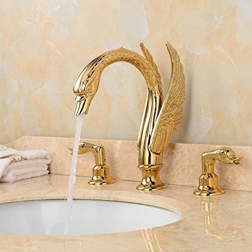 LightInTheBox Golden Handles Deck Mounted Ornate Swan Sink Mixer good