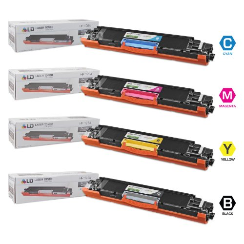 LD © Remanufactured Replacement Laser Toner Cartridges for HP Color LaserJet CP1025nw/100 MFP M175nw: 1 Black CE310A, 1 Cyan CE311A, 1 Magenta CE313A and 1 Yellow CE312A