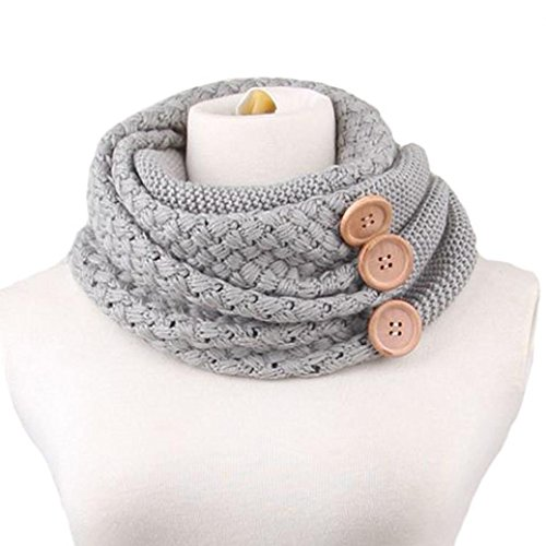 Tenworld Charming Womentwo Circle Cable Knit Cowl Neck Scarf (Gray) (Crinkle Silk Pant)