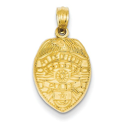 Or 14 ct Officier de Police Badge Pendentif - Mesure 22,2 x 12 mm