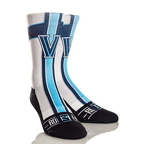 Rock'em Apparel NCAA Villanova Wildcats Jersey Series University Custom Athletic Crew Socks, Small/Medium, White/Blue ()