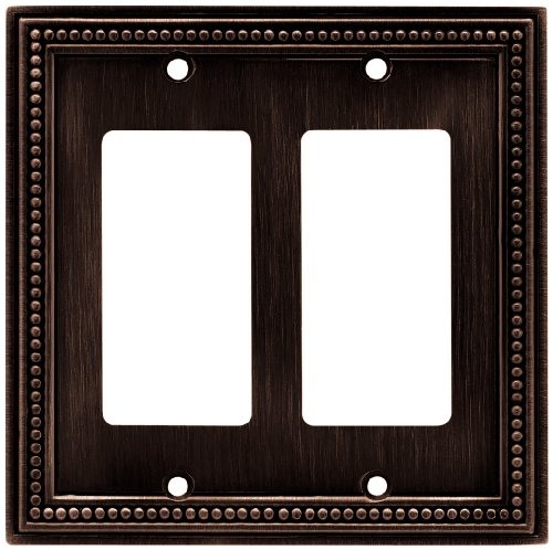 - Brainerd 64403 Beaded Double Decorator Wall Plate / Switch Plate / Cover, Venetian Bronze