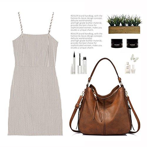 Umhängetasche Mit Quasten Taschen Brown Handtaschen Lederimitat Hobo Taschen Damen Dark groß Designer cngEPy1gW