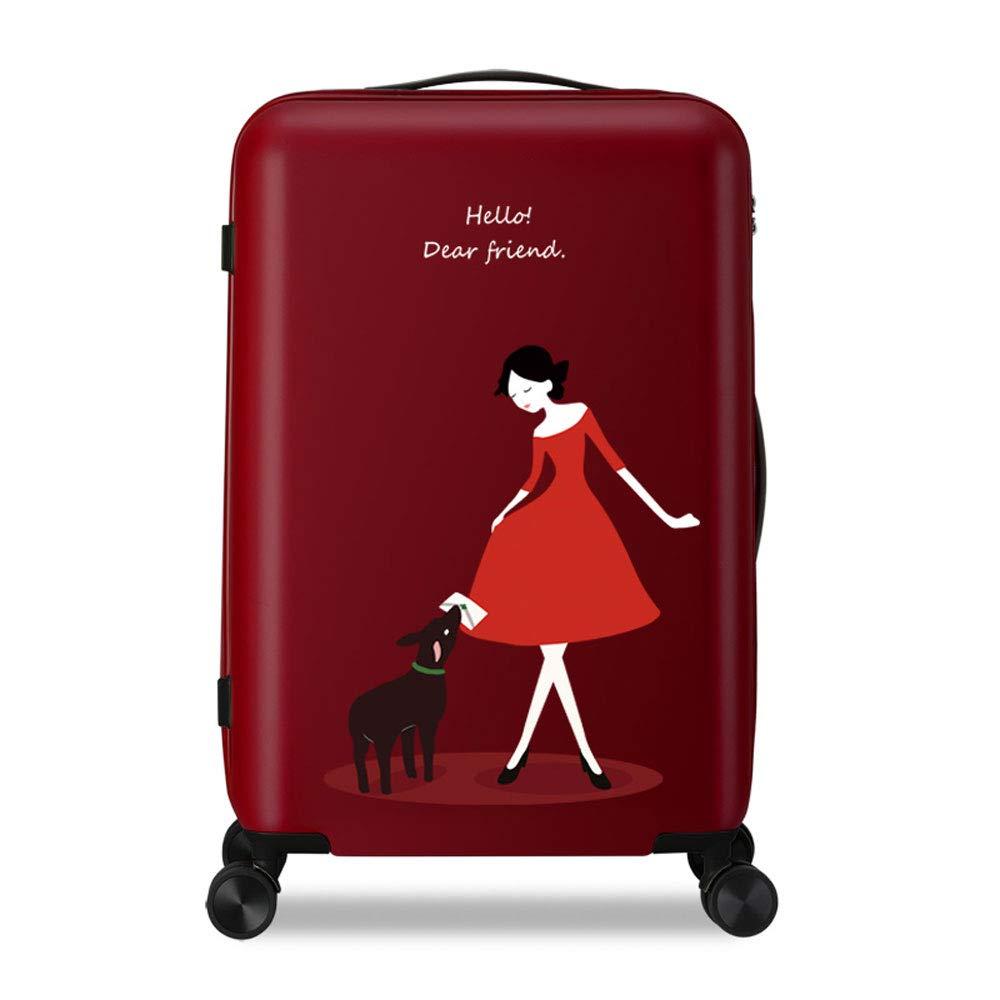 WJ スーツケース トロリーケース - ポリエステル/PC、TSAカスタムコードロック、ハニカムグレインパターン、スモールフレッシュファッション大容量キャスター防水スクラッチ学生かわいいラゲッジ - 3色、2サイズあり。 /-/ (色 : Red, サイズ さいず : 40.5*26*59cm) B07MYR79K9 Red 40.5*26*59cm