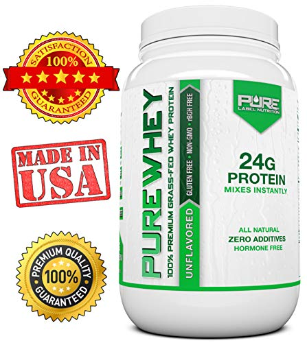 Grass Fed Whey Protein – 2lb Unflavored – 100 Natural, Cold Processed, Undenatured w No Sweeteners or Added Sugars – rBGH Free, GMO-Free, Gluten Free, Preservative Free – Pure Whey