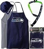 BUNDLE PACK, NFL Seattle Seahawks ( Apron Hat Set + Two Tone Lanyard, Bonus Bottle Opener ) Barbeque, BBQ Apron