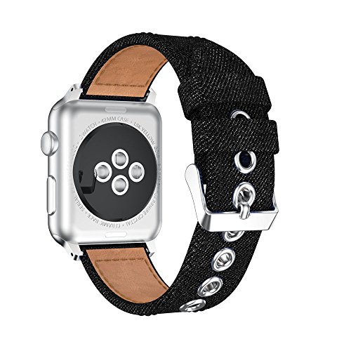 Aobiny Compatible for Apple Watch Series 1/2 Watch Band, 38MM Denim Fabric Watch Bracelet Band Strap for Apple Watch Series 1/2 ()
