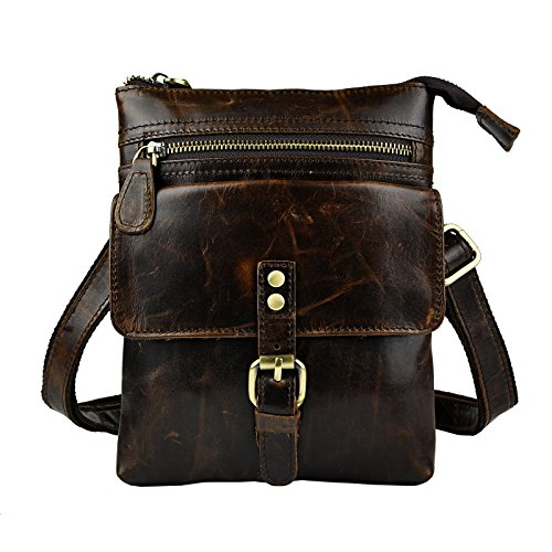 Le'aokuu Mens Genuine Leather Coffee Fanny Small Messenger Shoulder Satchel Waist Bag Pack (The 6574 Coffee) by Le'aokuu