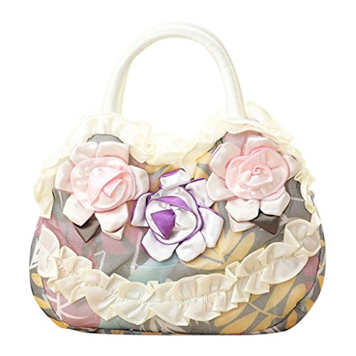 Toile Purse Zipper Shopping Casual Femmes Lady Vif Sac Simple Sac Blanc JAGENIE à Rose Pocket Main Fleur wOpYqR