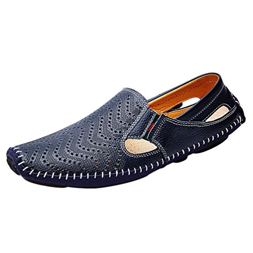YiLianDa Mens Leather Casual Breathable Slippers with Non Slip Hard Sole Blue 0C4Gbiwv