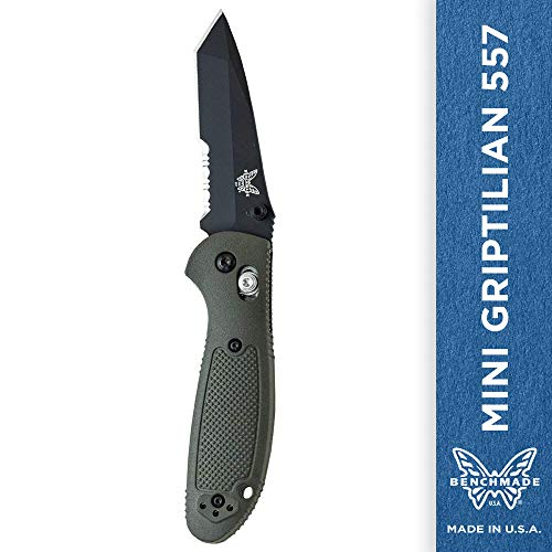 Benchmade - Mini Griptilian 557 Knife with CPM-S30V Steel, Tanto Blade, Serrated Edge, Coated Finish, Olive Handle